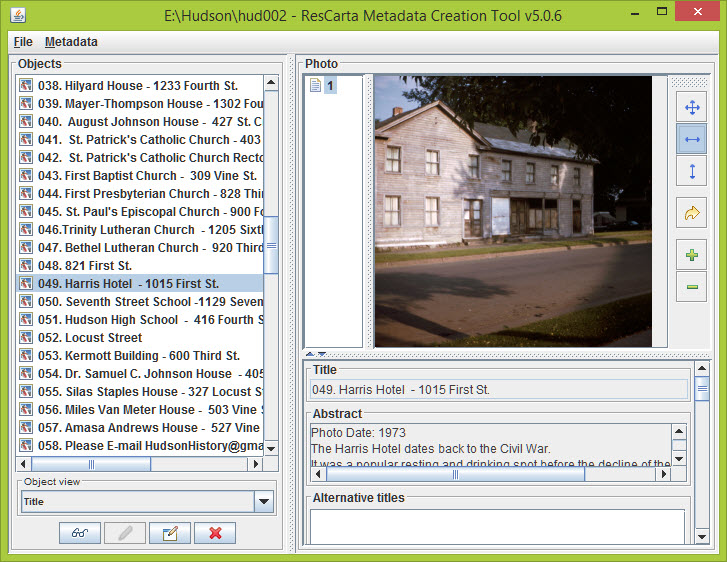 Screenshot of the Metadata Creation tool
